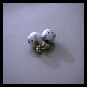 Unique marble earring backs with jeweled fronts